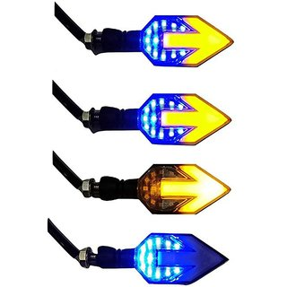 Ramanta Yellow & Blue Front Rear LED Indicator Light For Bike