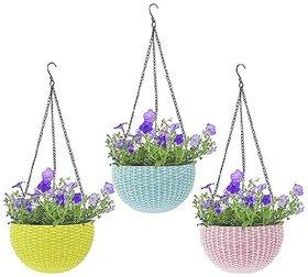 AFFIX ENTERPRISES  3 PCS Hanging Baskets Rattan Waven Flower Pot Plant Pot with Hanging Chain for Houseplants Garden Bal