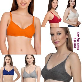 Rayyans (Pack of 6) Quality Cotton Hosiery Multi color Bra (Color n Design may vary)