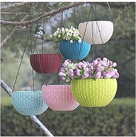 AFFIX  ENTERPRISES   6 PCS Hanging Baskets Rattan Waven Flower Pot Plant Pot with Hanging Chain for Houseplants Garden B