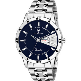 Blue DayDate Stainless Steel Watch