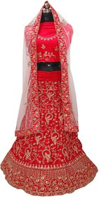 Dhanlaxmi Red Crep Silk Embroidered Lehenga Choli For Women Semi Stitched