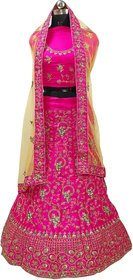 Dhanlaxmi Pink Crep Silk Embroidered Lehenga Choli For Women Semi Stitched