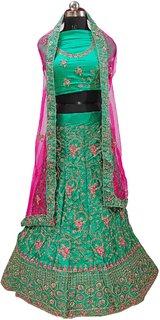 Dhanlaxmi Pista Silk Frill Embroidered Lehenga Choli For Women Semi Stitched