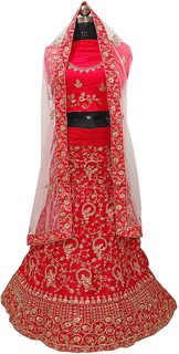 Dhanlaxmi Red Crep Silk Embroidered Lehenga Choli For Women Semi Stitched