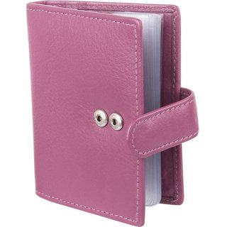 Men Pink Original Leather RFID Card Holder 20 Card Slot 0 Note Compartment