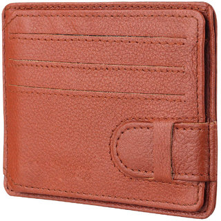 Men Brown Pure Leather RFID Card Holder 10 Card Slot 1 Note Compartment