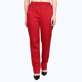 Apella Women Red Cotton Pant Palazzo With 2 Side Pocket (SIZE  7XL ,8XL)