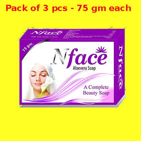N Face Aloevera soap (Pack of 3 pcs.) - 75 gm Each