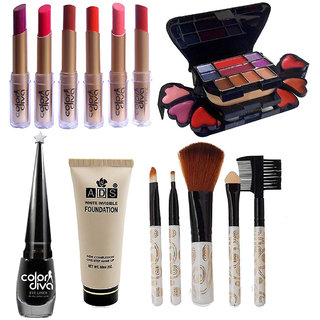 Color Diva Cosmetic Combo With 6 Lipstick Pack, Eyeliner, Brushes & Makeup kit, GCI765