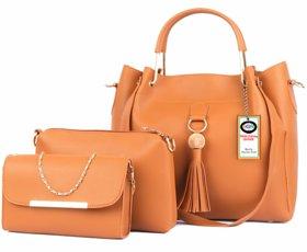 SAGIR ITALIAN LEATHER Women Tan Handbag And sling bag combo 3 Sold