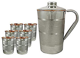 1.6 Litre Pure Copper Steel JUG with 6 Copper Steel Glasses (300ml Each), Leak Proof and Joint Free