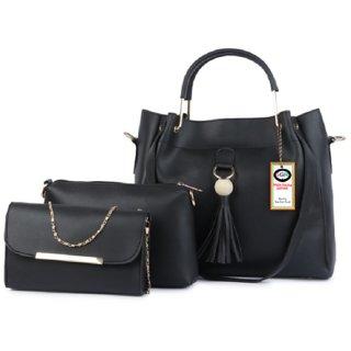 SAGIR ITALIAN LEATHER Women Black Handbag And sling bag combo 3 Sold