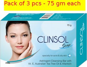 clinsol soaps for spots acne(Pack of 3 pcs.)75 gm each