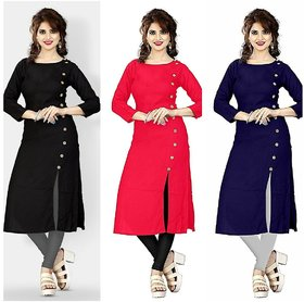 Pack of 3 Multicolor Plain Crepe Stitched Kurti by Aiza Collection