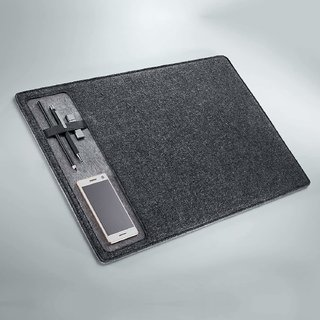 House of Quirk Felt Desk Pad Laptop Keyboard Mouse Pad with Paper and Pen Pocket for Desktops (Dark Grey)