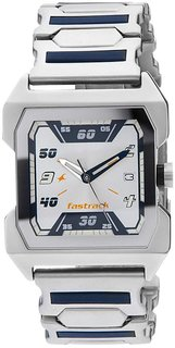 Fastrack Men Rectangle Metal Dial Silver Watch