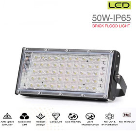 LED 50W Ultra Thin Slim IP65 LED Flood Outdoor Cool Day Light White Waterproof (50 watt)(White)