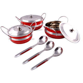 RK Handicraft 6 Pcs Stainless Steel Serving Handi 700 mL