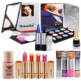 Kremlin Compact, Eyeshadow, 4 Shade Lipstick, Nail Paint Set of 14 GCI819