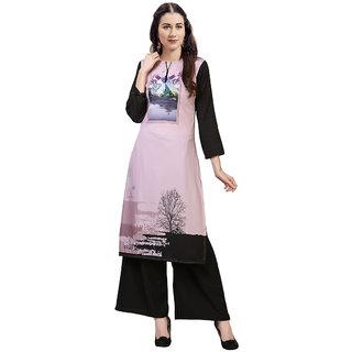 Saadhvi Pink Crepe Digital Print Stitched Kurta