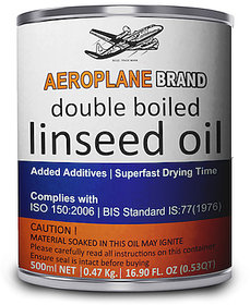 Aeroplane Brand - Double Boiled Linseed Oil  500 ML Tin Pack  Natural Wood Varnish