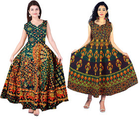 MAHIMA FAB Traditional Paisley printed Cotton Stitched Gown For Women's Maxi Long Dress Combo (Free Size)