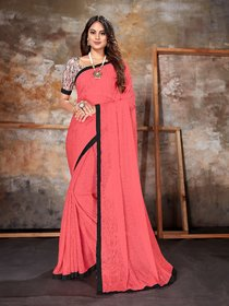 Sutram Lycra Pink Lace Bordered Saree with Unstitched Blouse Piece