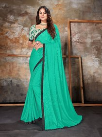 Sutram Lycra Turquoise Lace Bordered Saree with Unstitched Blouse Piece