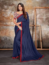 Sutram Lycra Navy Blue Lace Bordered Saree with Unstitched Blouse Piece