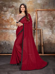 Sutram Lycra Maroon Lace Bordered Saree with Unstitched Blouse Piece