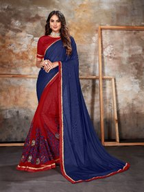 Sutram Lycra Blue & Maroon Embroidery Saree with Unstitched Blouse Piece