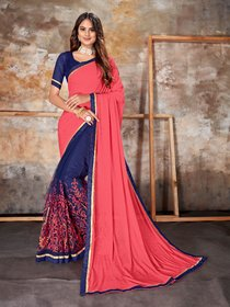 Sutram Lycra Pink & Blue Embroidery Saree with Unstitched Blouse Piece