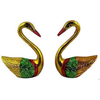 Metal Alloy Feng Shui Mandarin Valentine Ducks Decorative Showpiece for Love and Good Relationship (14 cm, Multicolour)
