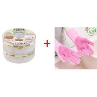 Quick Roll Combo Pack of Sprout Maker 4 Layer White Color and Silicon Gloves Multi Color