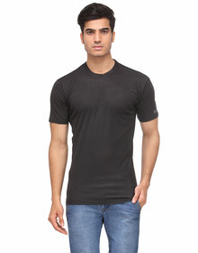 Men's Black round polyster -tshirt
