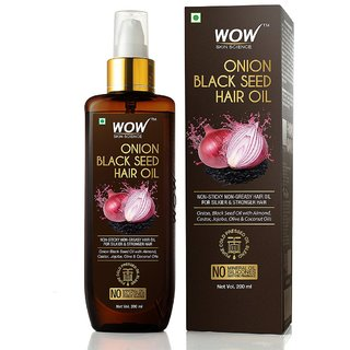 WOW Skin Science Onion Black Seed Hair Oil - Controls Hair Fall - No Mineral Oil, Silicones  Synthetic Fragrance - 200