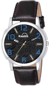 Radius By Smartshop16 Black Leather Strap Round Dial Watch For Mens  Boy RN-03