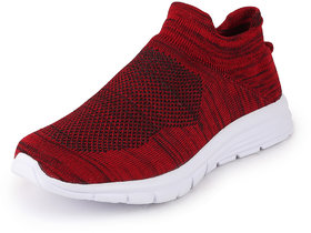 Fausto Men's Red Knitted Sports Walking Shoes