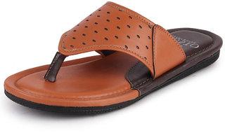 Fausto Men's Tan Casual Outdoor Slip On Slipper