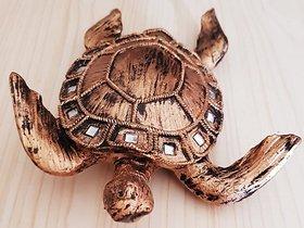 Home Artists Tortoise Handicraft Showpiece for Good Luck/Vastu (Kachhua/Turtle) (Color: Golden, Length: 22 cm)