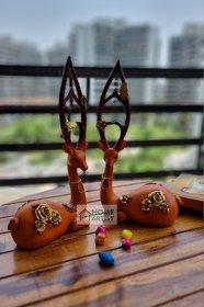 Home Artists Pick End Now Ethnic Handmade Polyresin Deer Showpiece (Set of 2)