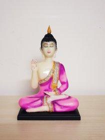 Home Artists Buddha Idols Polyresin Sitting Buddha Idol Statue Showpiece Pink and White