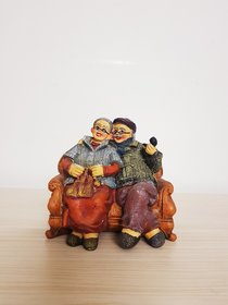 Home Artists DadaDadi-NanaNani Spending Leisure Time;Hand Painted Chair Set - Brown