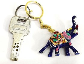 STARPARTH Metal Meenakari Elephant Key Chain