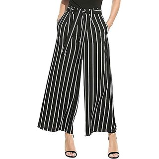 stylish trendy black and white strip plazzo pants or trousers for girls