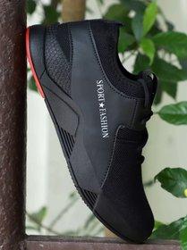 Austrich Black Kids Sports Shoes