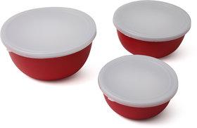 R K HANDICRAFTS CEREAL BOWL RED COLOR SET OF 3 PCS