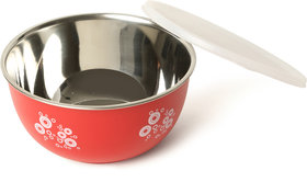R K HANDICRAFTS STAINLESS STEEL RED PRINTED  BOWL SET OF 3 PCS