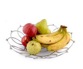 Rk Handicrafts Stainless Steel Fruit Basket Round Shape
